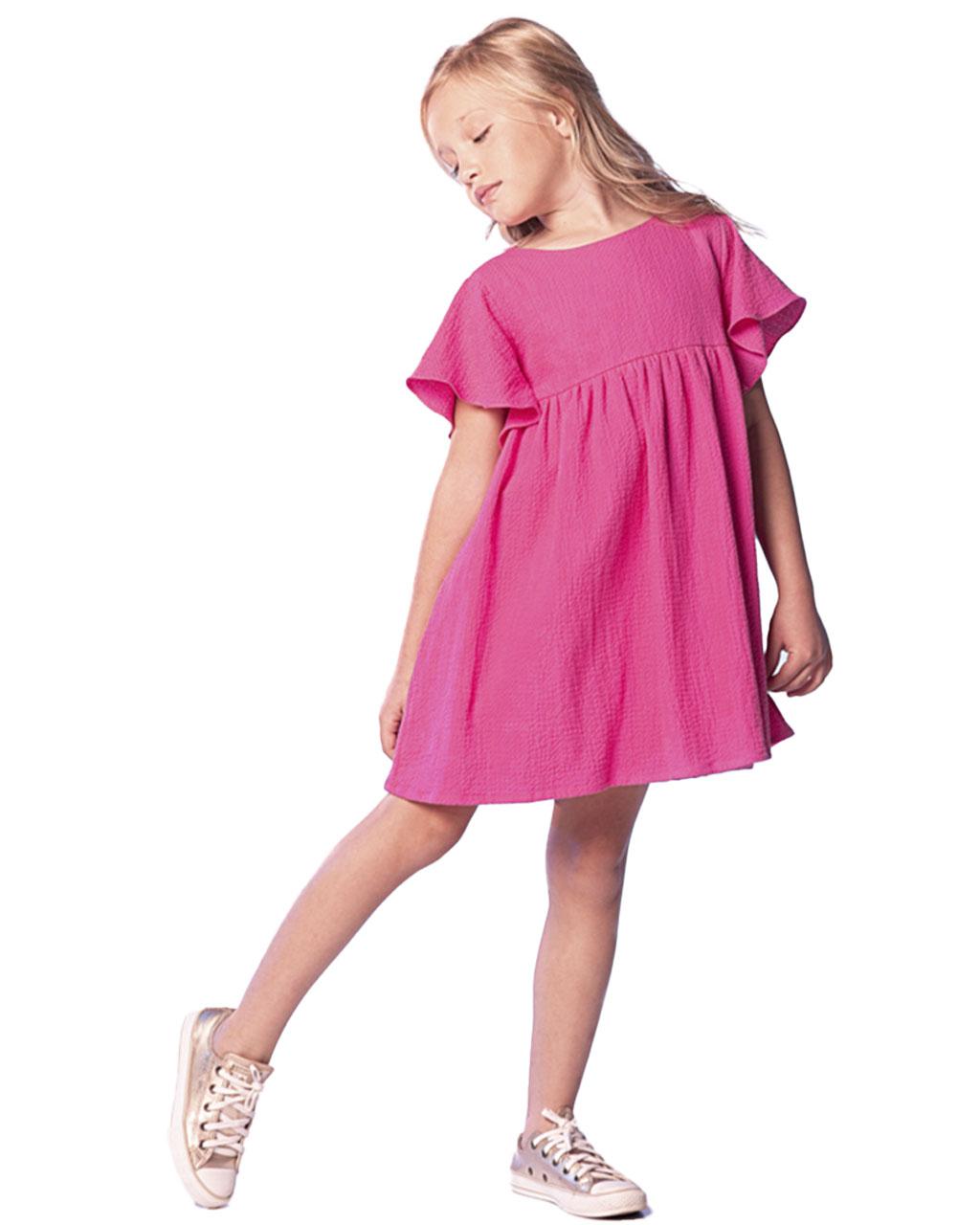 Vestido Infantil Rosa com Amarração nas Costas Que Te Encante