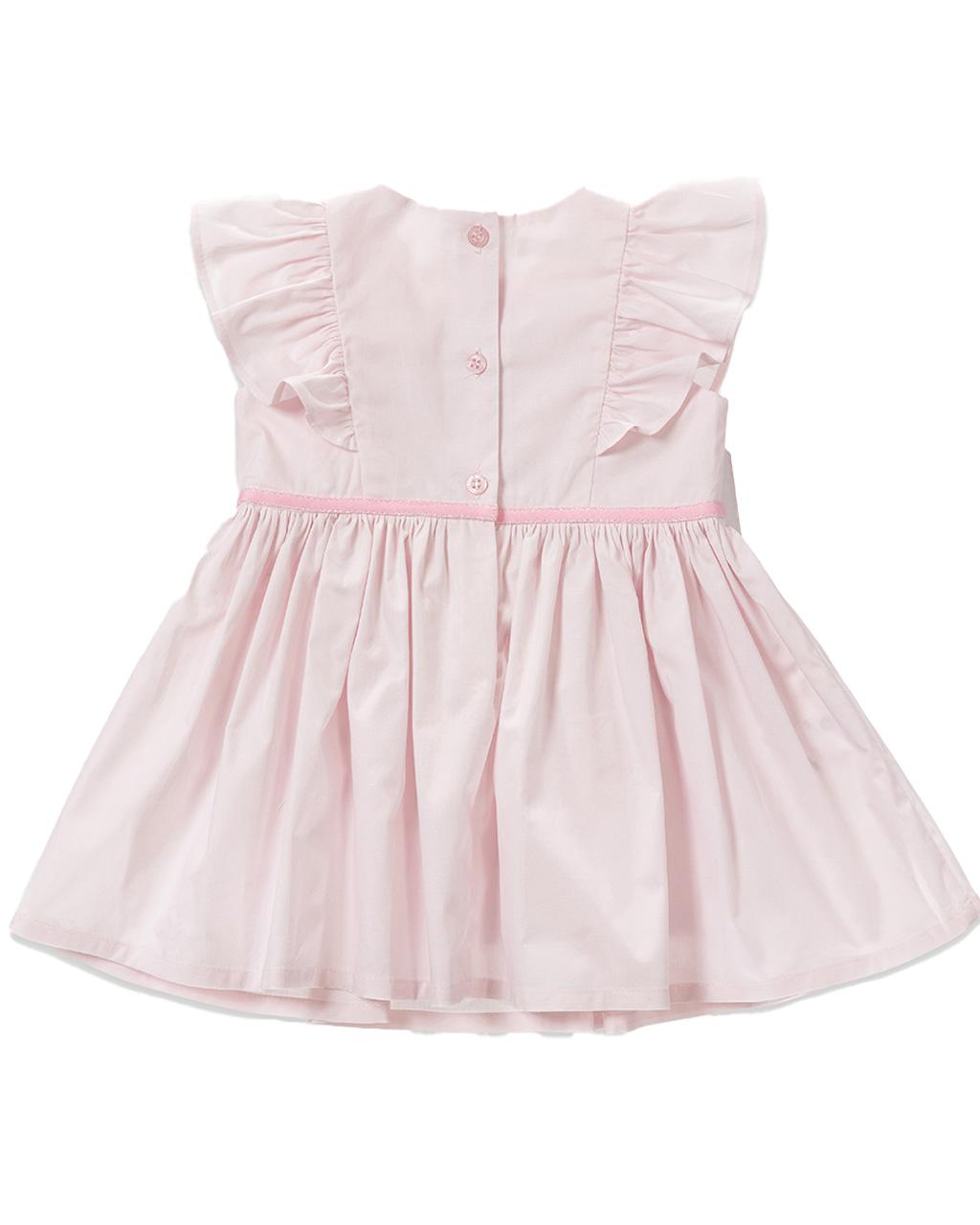 Vestido Infantil Rosa detalhe Babado Um Mais Um