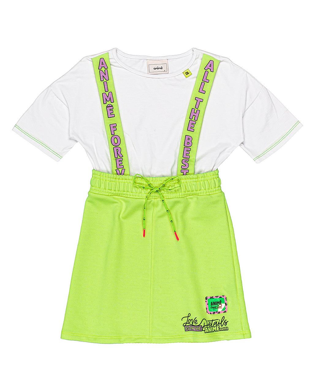 Vestido Infantil Saia Neon Off White Animê