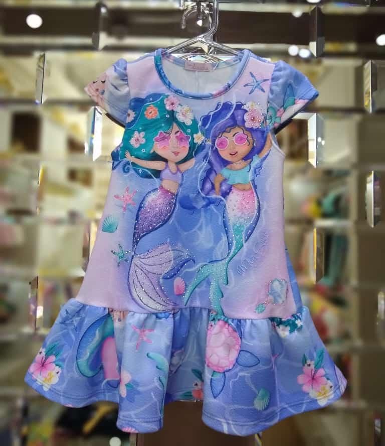 Vestido Infantil Sereia Pop Star Lilás Mon Sucré