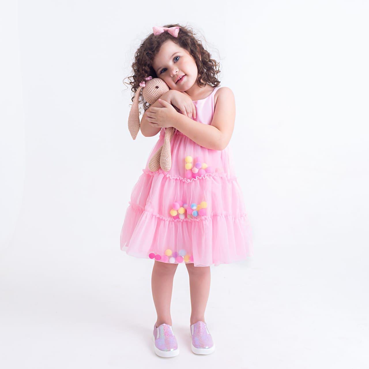 Vestido Infantil Sopreposição Tule com Pom Pom Interno Rosa Mon Sucré