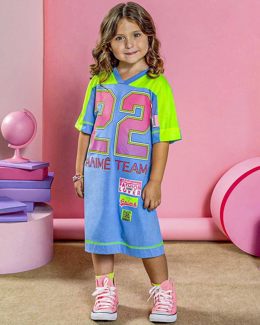 Vestido Infantil Team 22 Animê