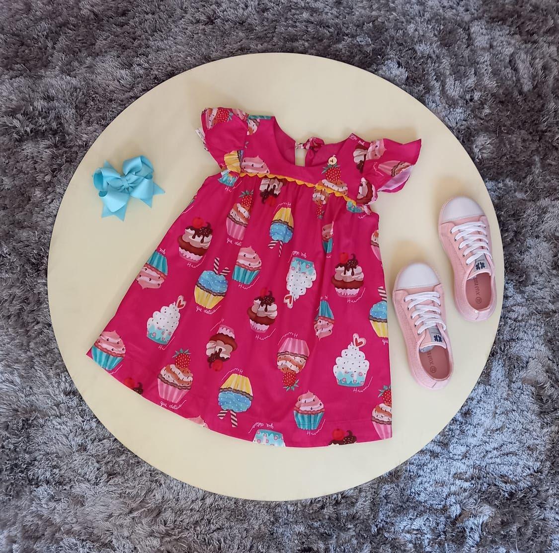 Vestido Infantil Trapézio Cup Cake Rosa Precoce