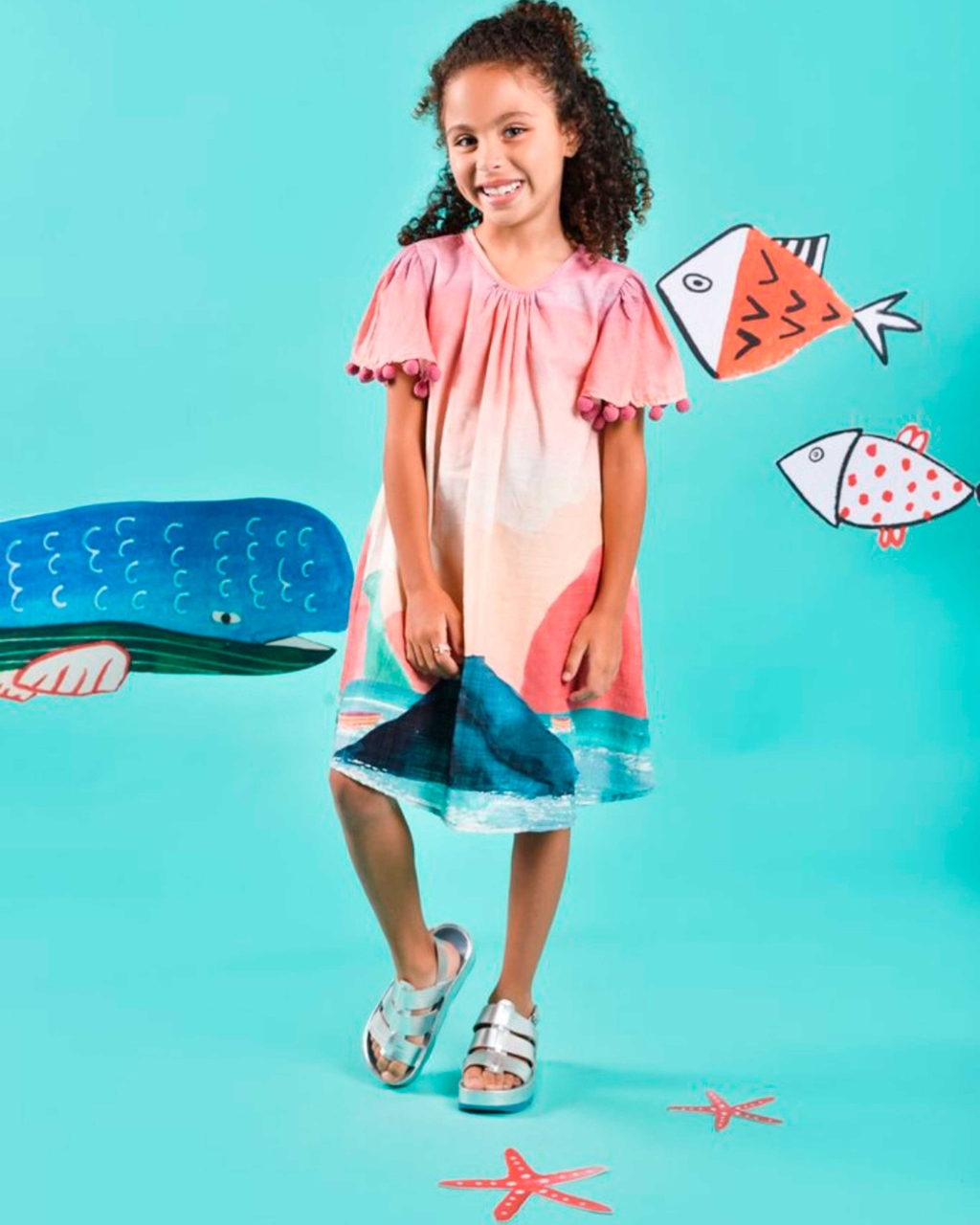 Vestido Infantil Trapézio Fiordes Com Pom Pom Mundo Céu