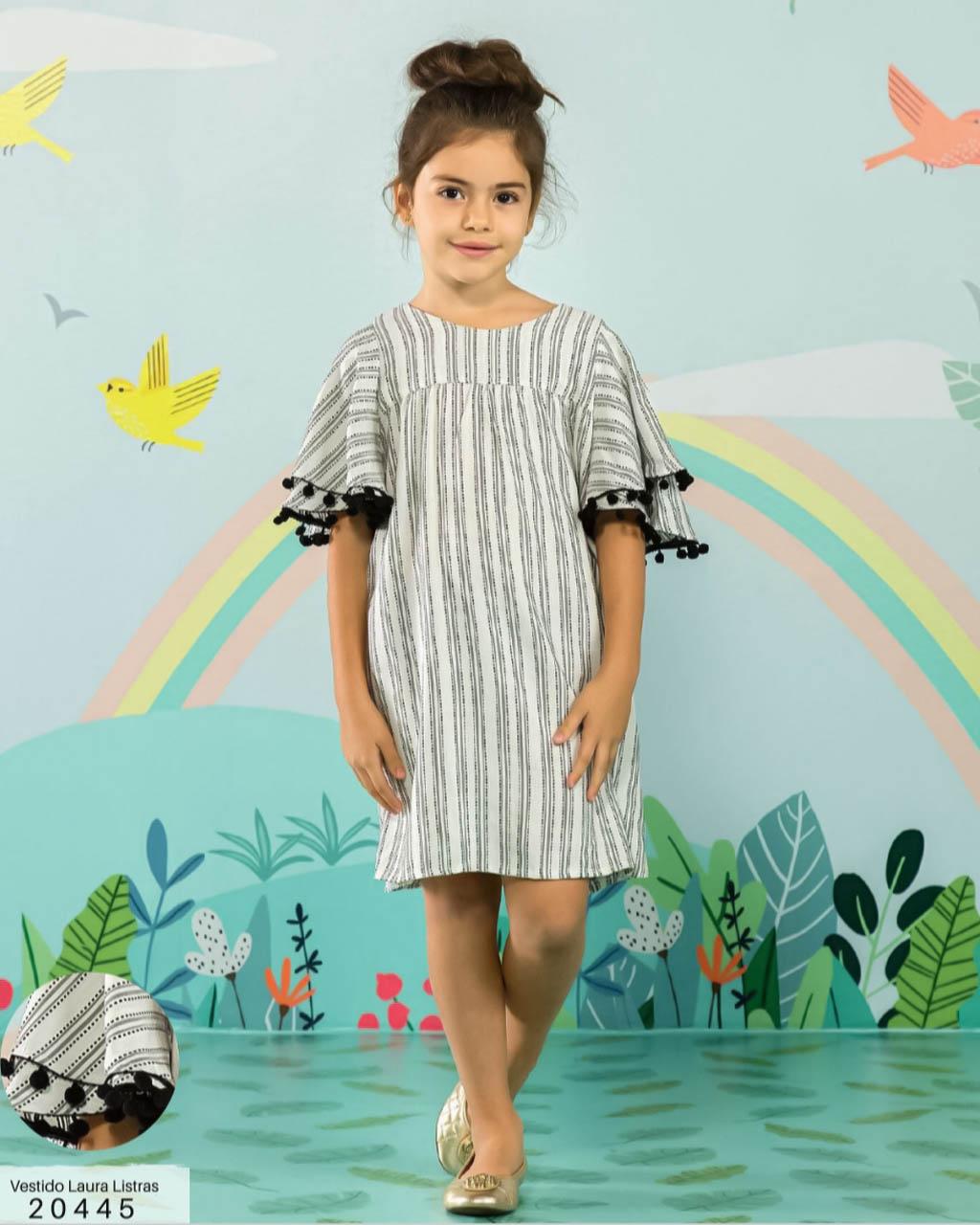 Vestido Infantil Trapézio Listrado Vertical Preto e Off Laura Lumilu