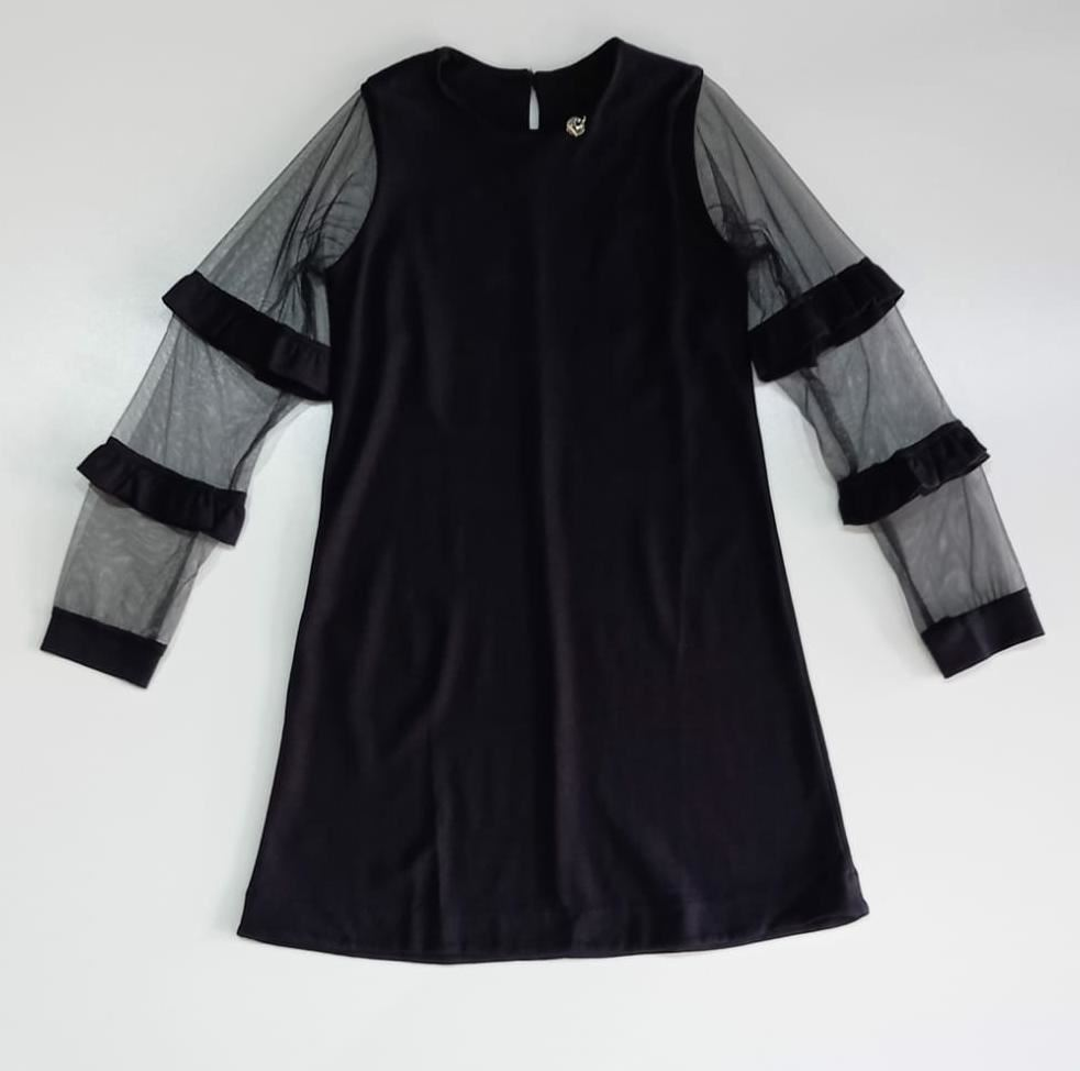 Vestido Infantil Trapézio Mangas de Tule Preto Precoce