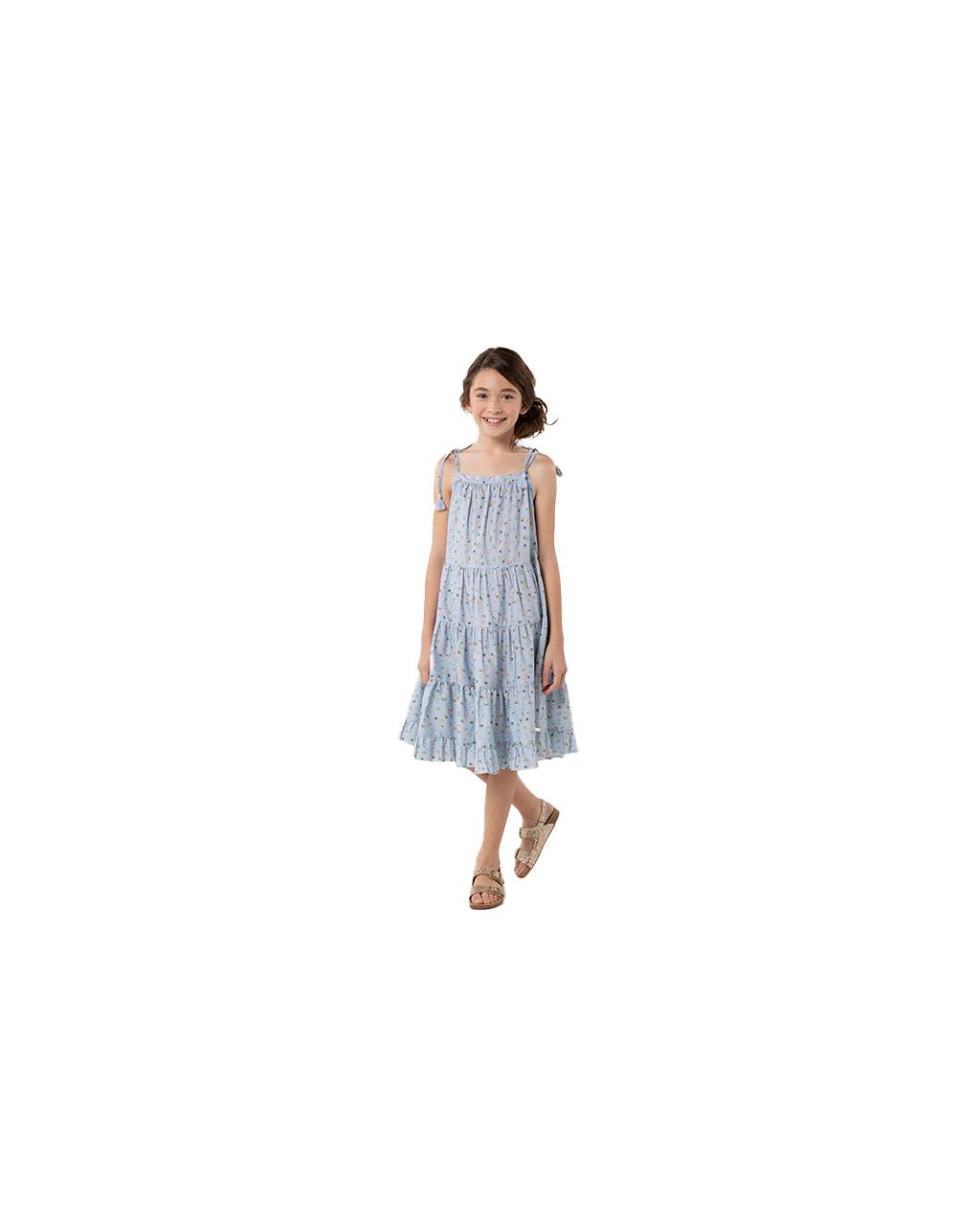 Vestido Infantil Tres Marias Flor Azul Um Mais Um