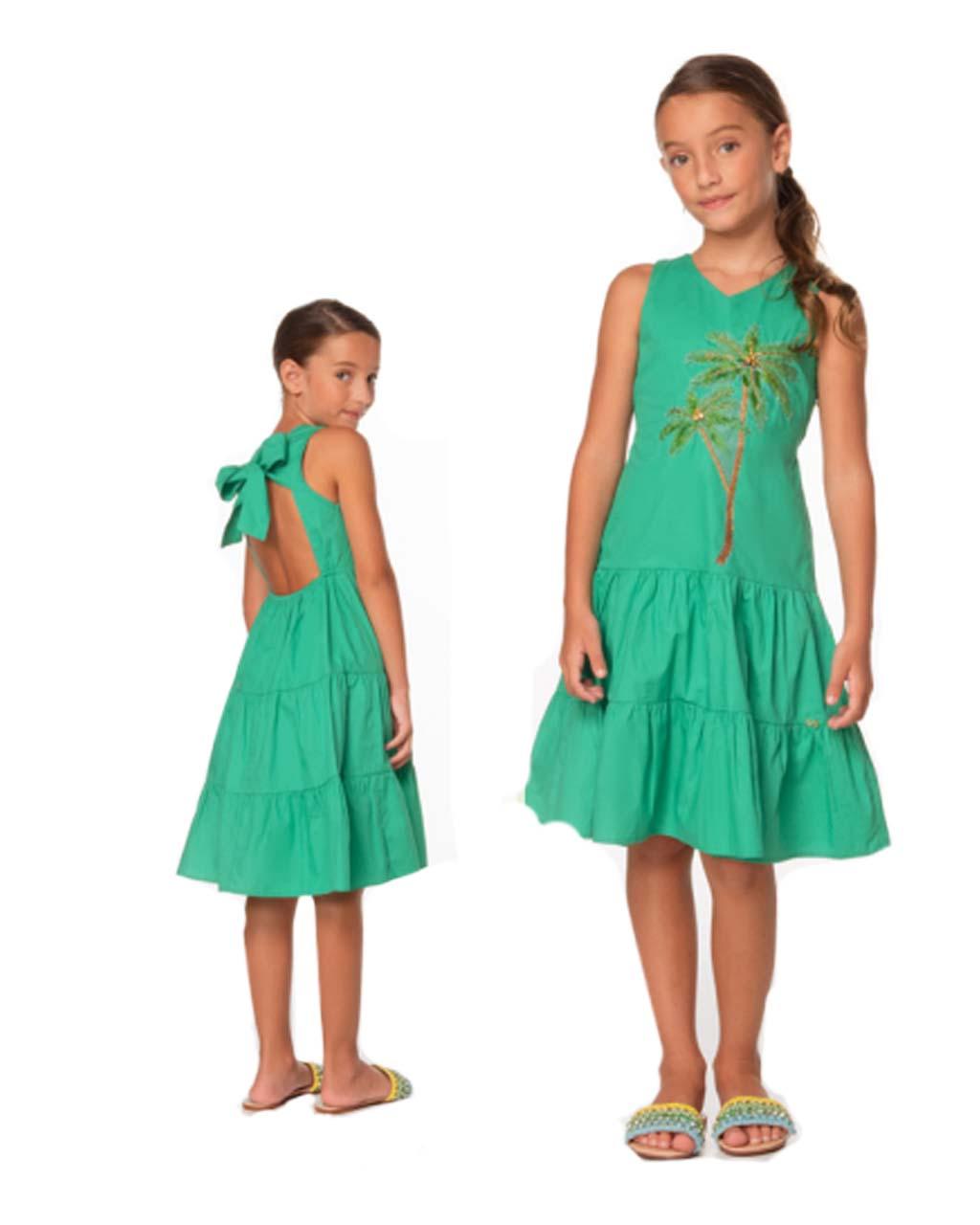 Vestido Infantil Tricoline com Bordados Verde Luluzinha