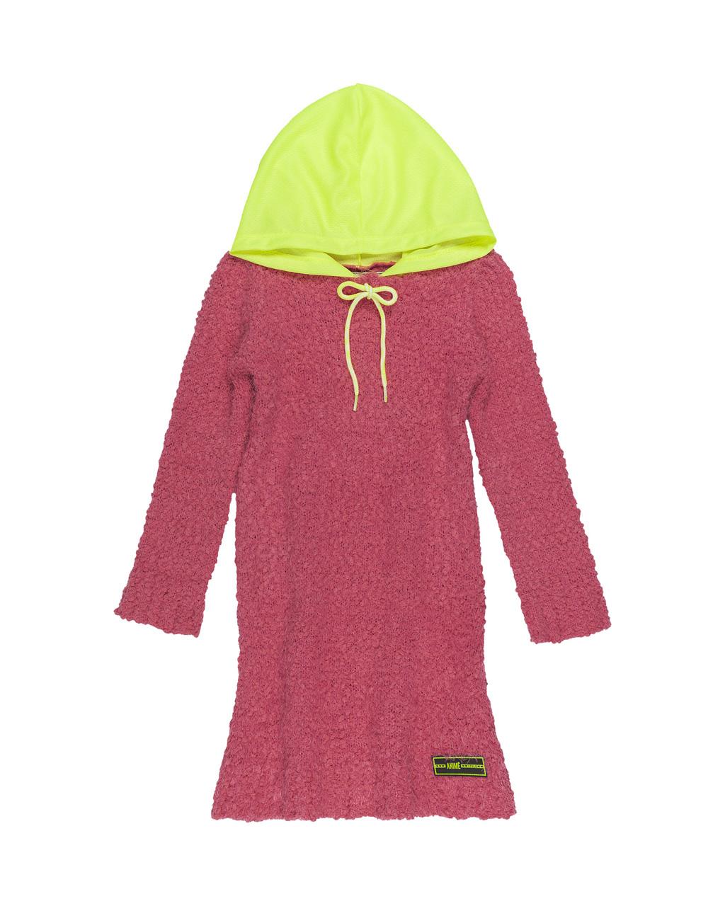 Vestido Infantil Tricot Fluffy Rosa com Capuz Amarelo Neon Animê