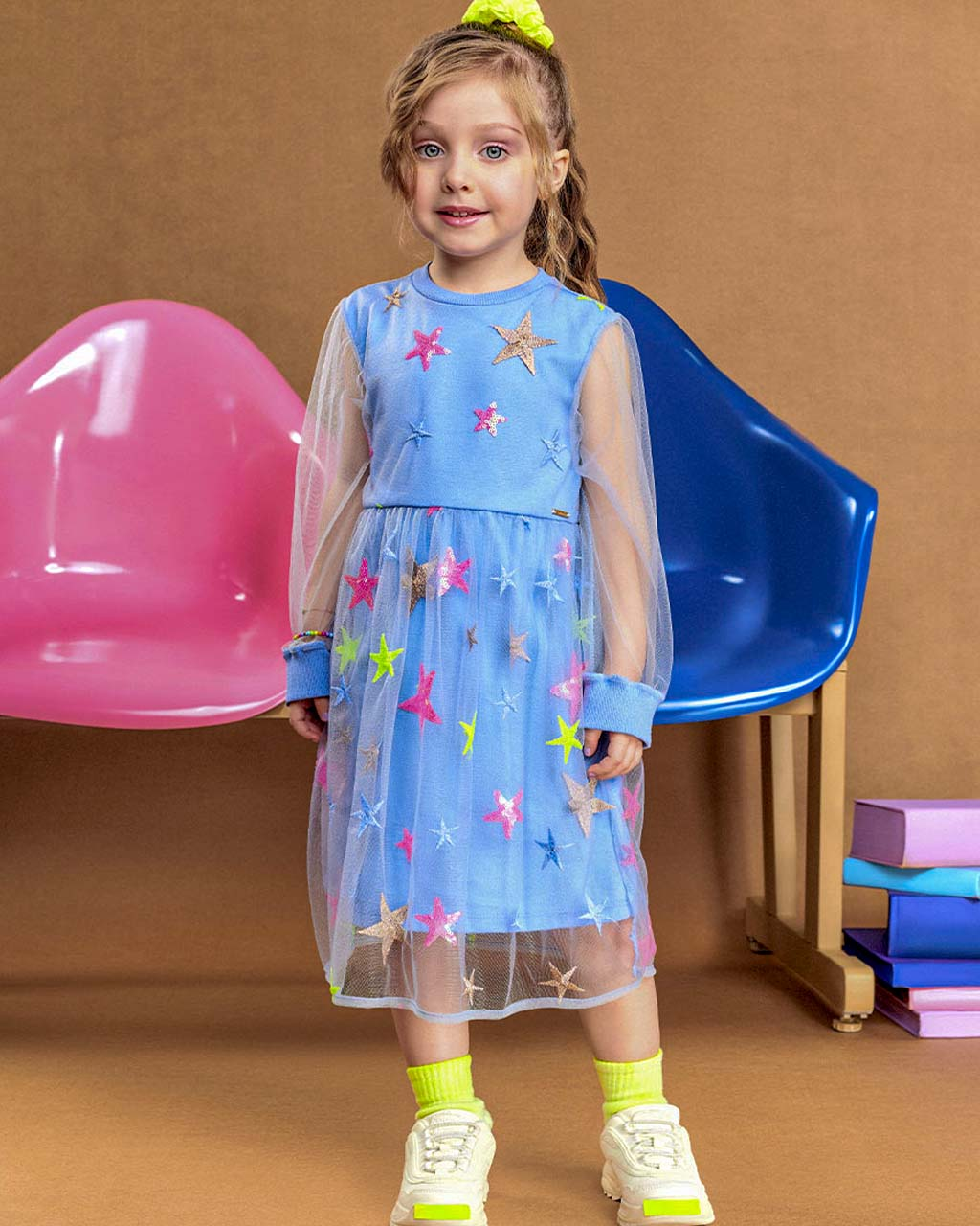 Vestido Infantil Tule Borbado Estrelas Neon Animê