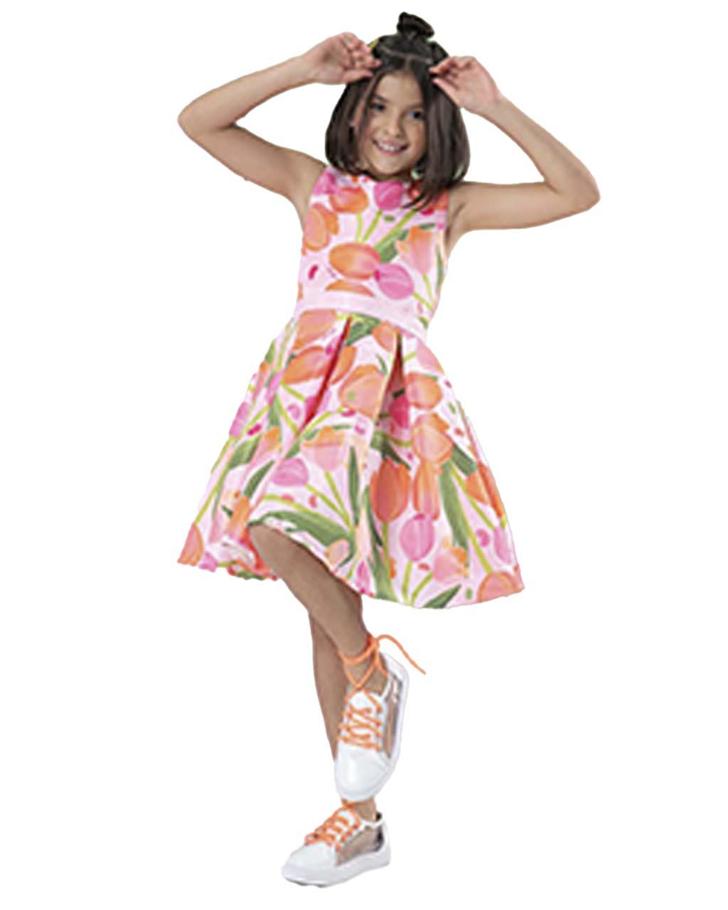 Vestido Infantil Tulipas Laranjas com Recorte e Laço nas Costas Málagah