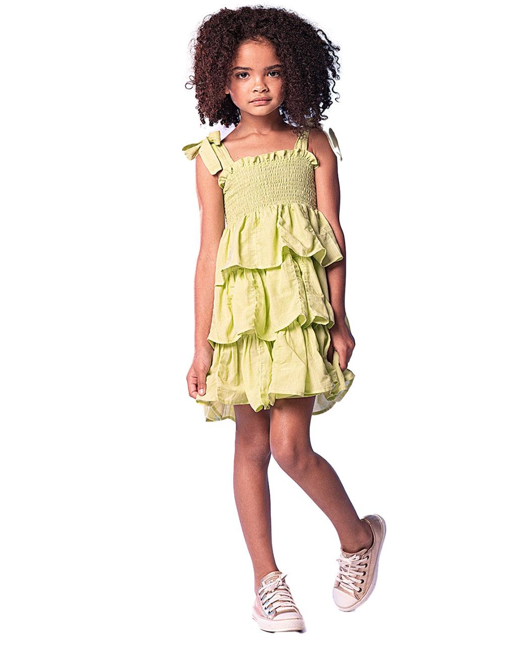Vestido Infantil Verde Lima com Babados Que Te Encante