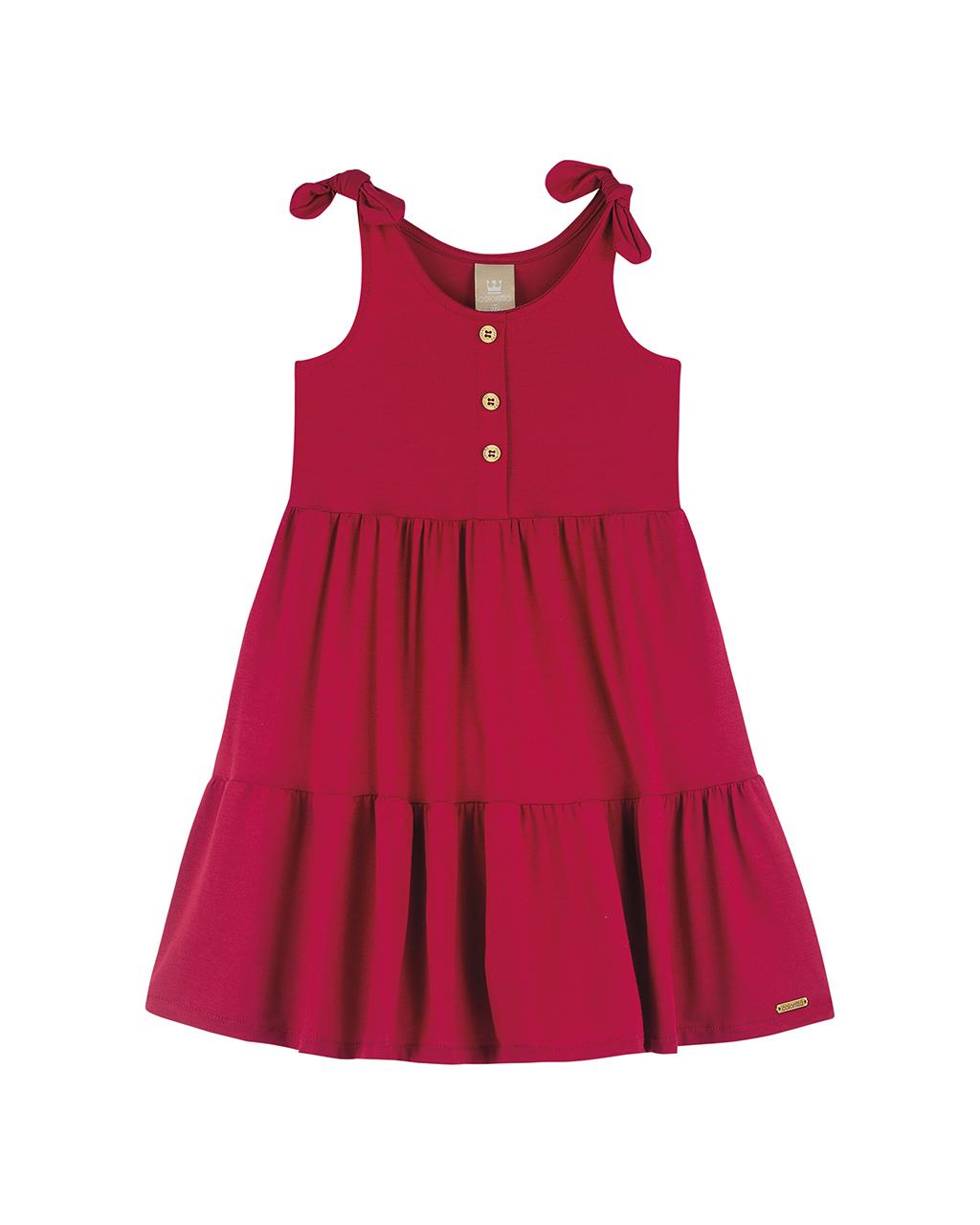 Vestido Infantil Vermelho Detalhe Lacinho na Alça e Três Botões na Frente Colorittá