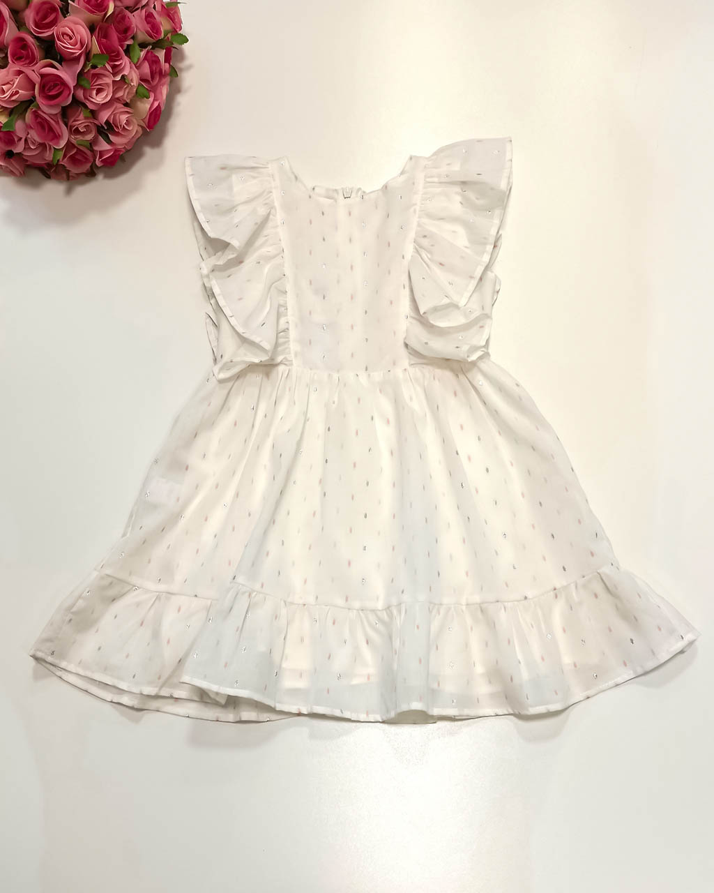 Vestido Infantil Viscose Off White Babados Pontos de Brilho Lumilu