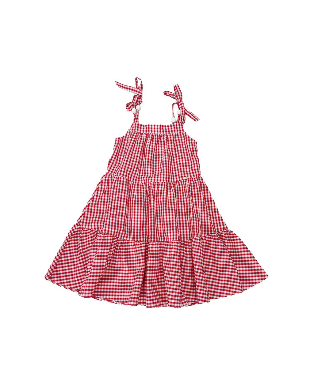Vestido Infantil Xadrez Vermelho Um Mais Um