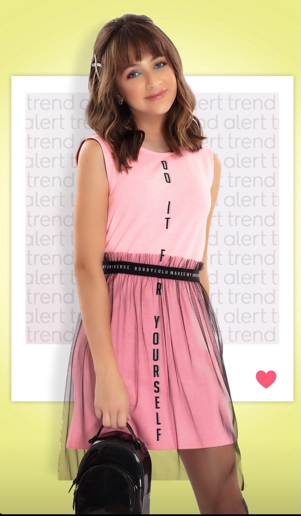 Vestido Teen Moletinho Rosa Neon com Saia de Tule Preta Sopreposição Bobbylulu