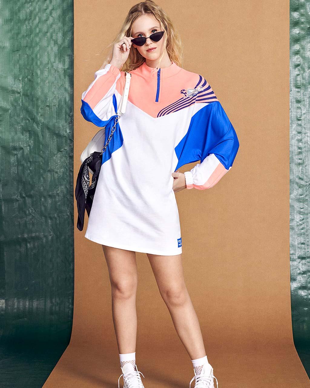Vestido Teen Moletom com Recortes Tricolor Neon Royal Off Authoria