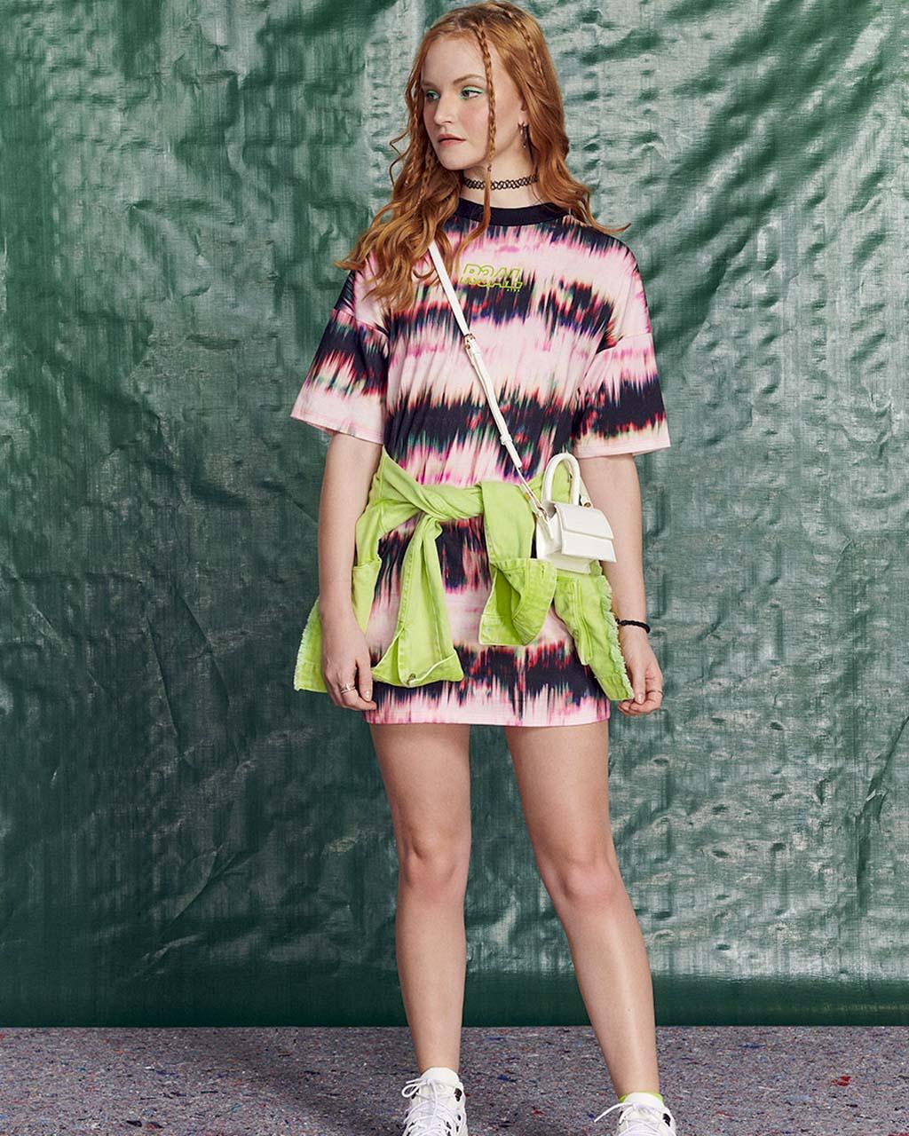 Vestido Teen Reto Tie Dye Boreal Ondas Sonoras Authoria