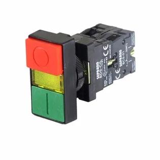 Botão Pulsador Duplo C/ Led 220vca Na+Nf