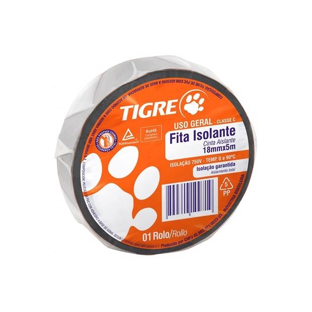 Fita Isolante Tigre Uso Geral  18mm X 5mt Preta