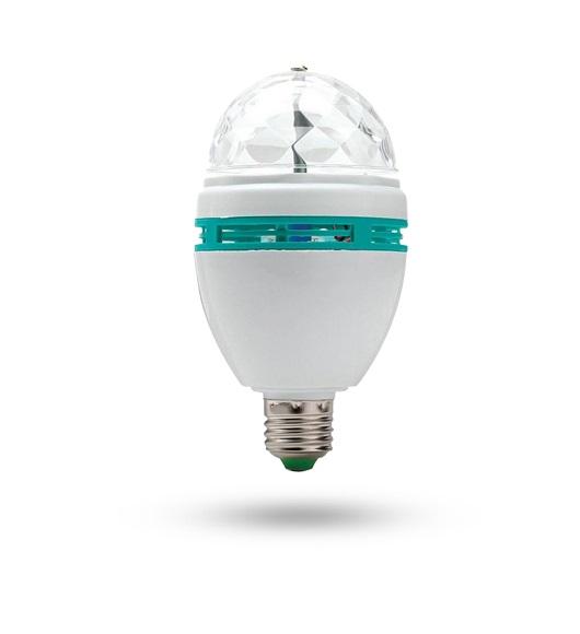 Lampada Led Rgb Giratoria 3w Bivolt E-27 (Imp)