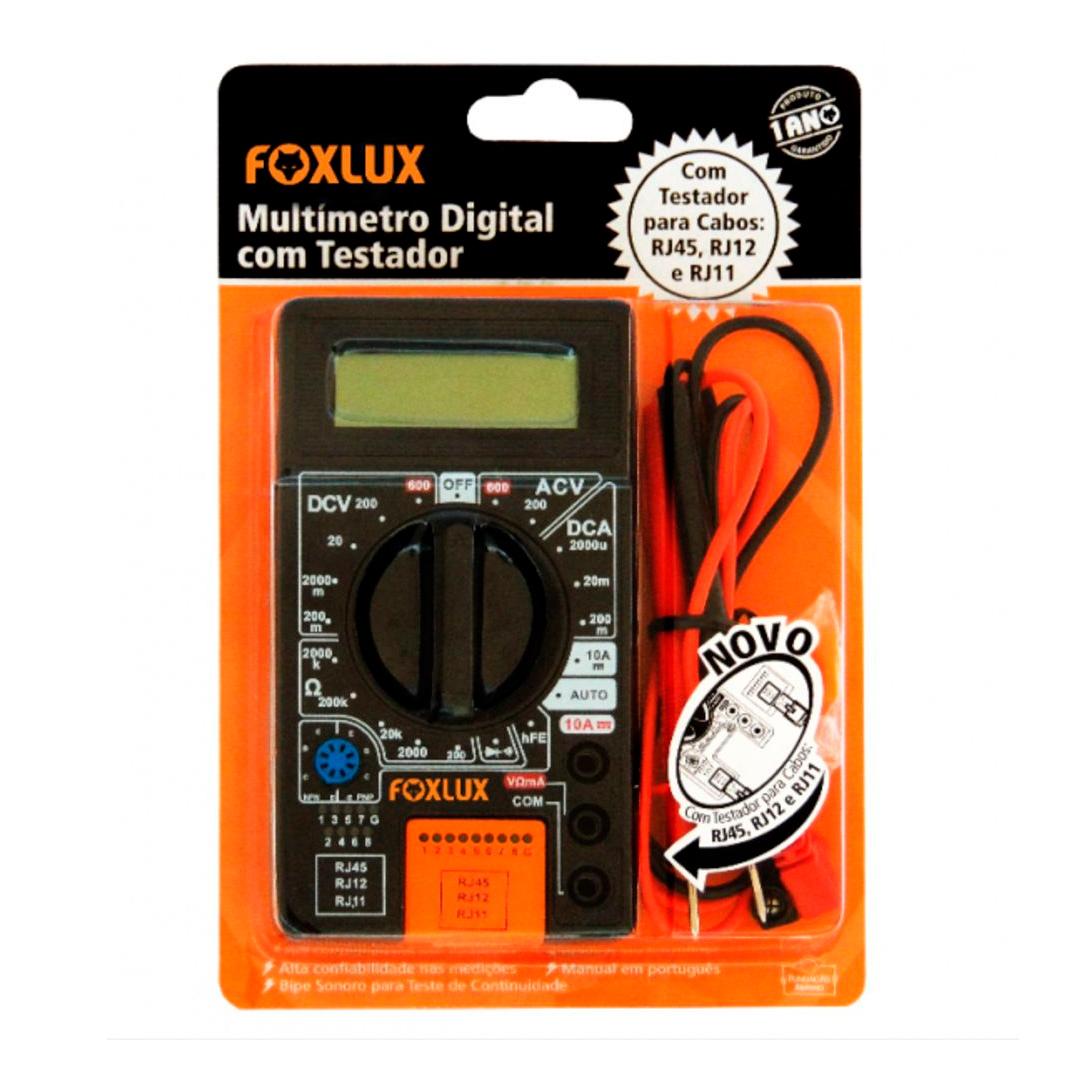 Multimetro Digital C/ Testador Cabos Rj45/Rj12/Rj11 Foxlux