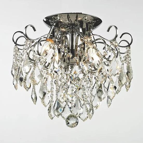 Plafon Tupiara Malipiero Cromado Com Cristais Transp 4 Lamp