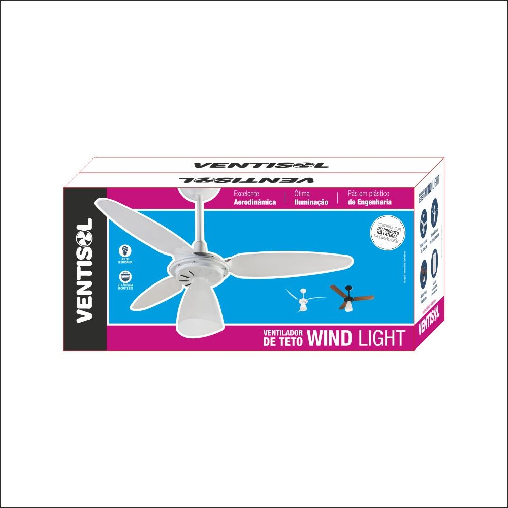 Ventilador Teto Wind Light Preto Mogno Cv3 220v Premium   - A ELETRICA ONLINE