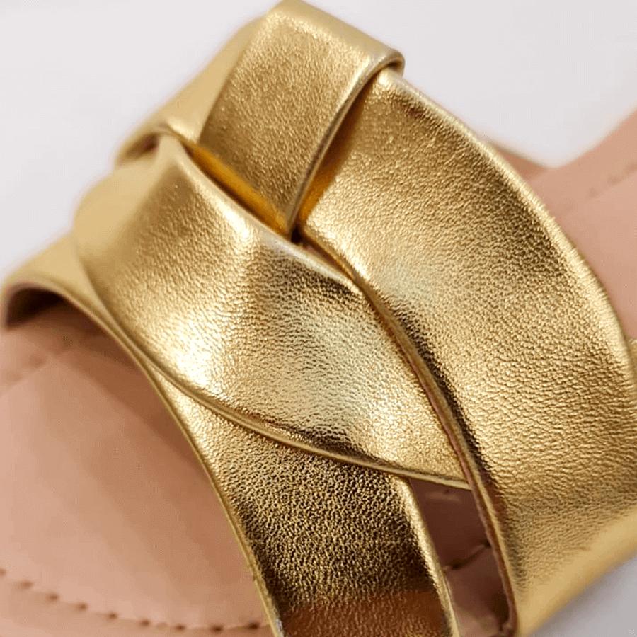 Rasteira Metalizada Ouro