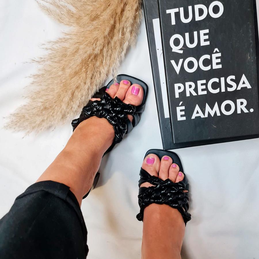 Sandália Nózinhos Salto Bloco Preta