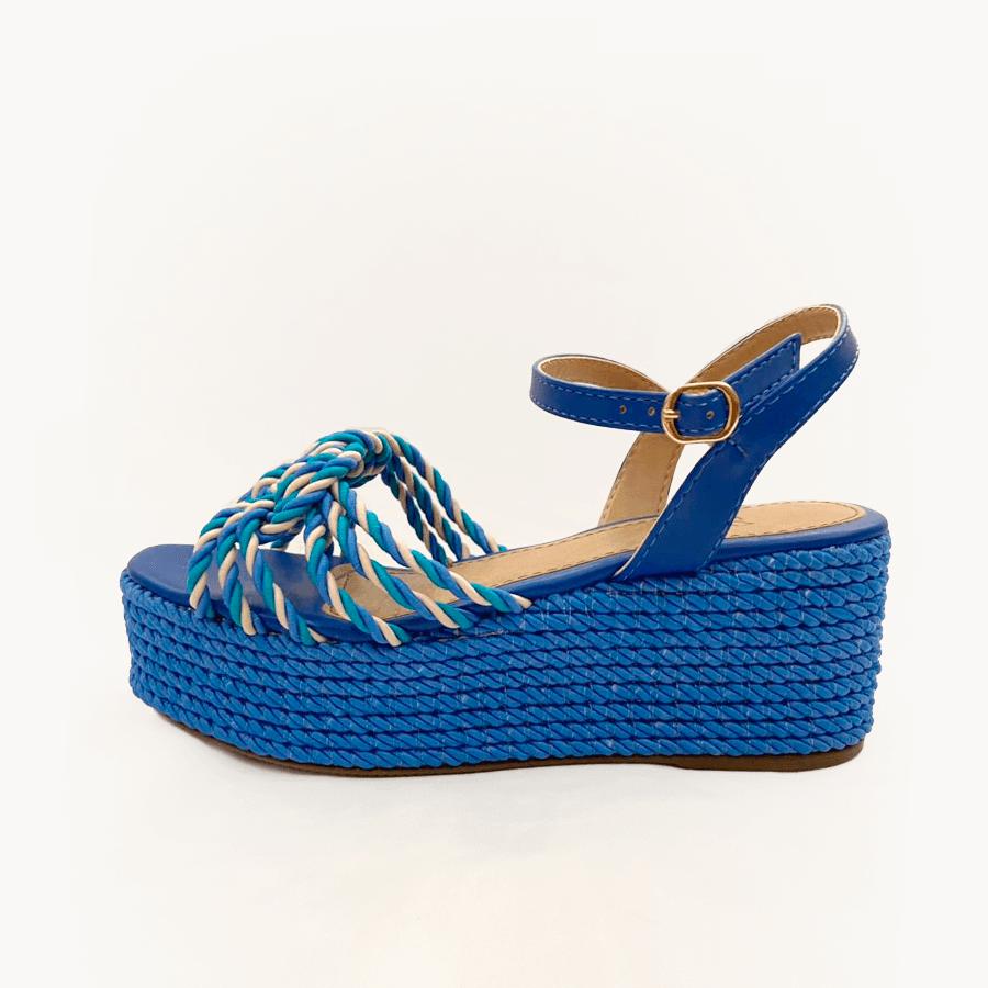 Sandália Plataforma Trançada Azul