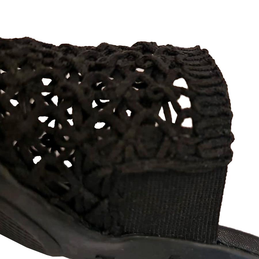 Sandália Saltinho Crochê Preta