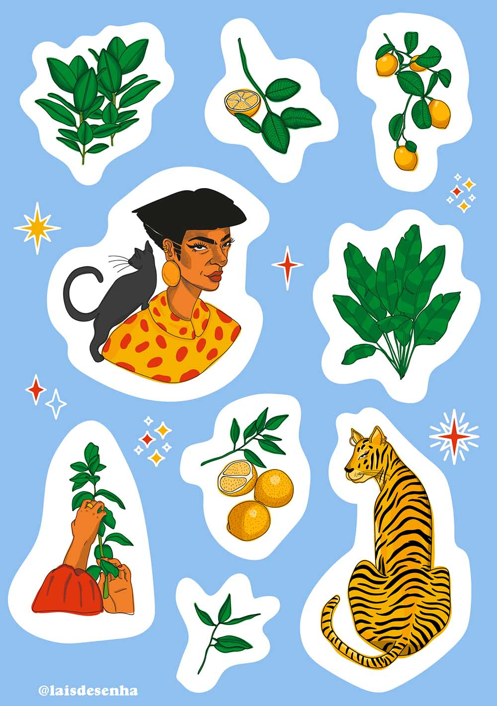 cartela de adesivos decorativos