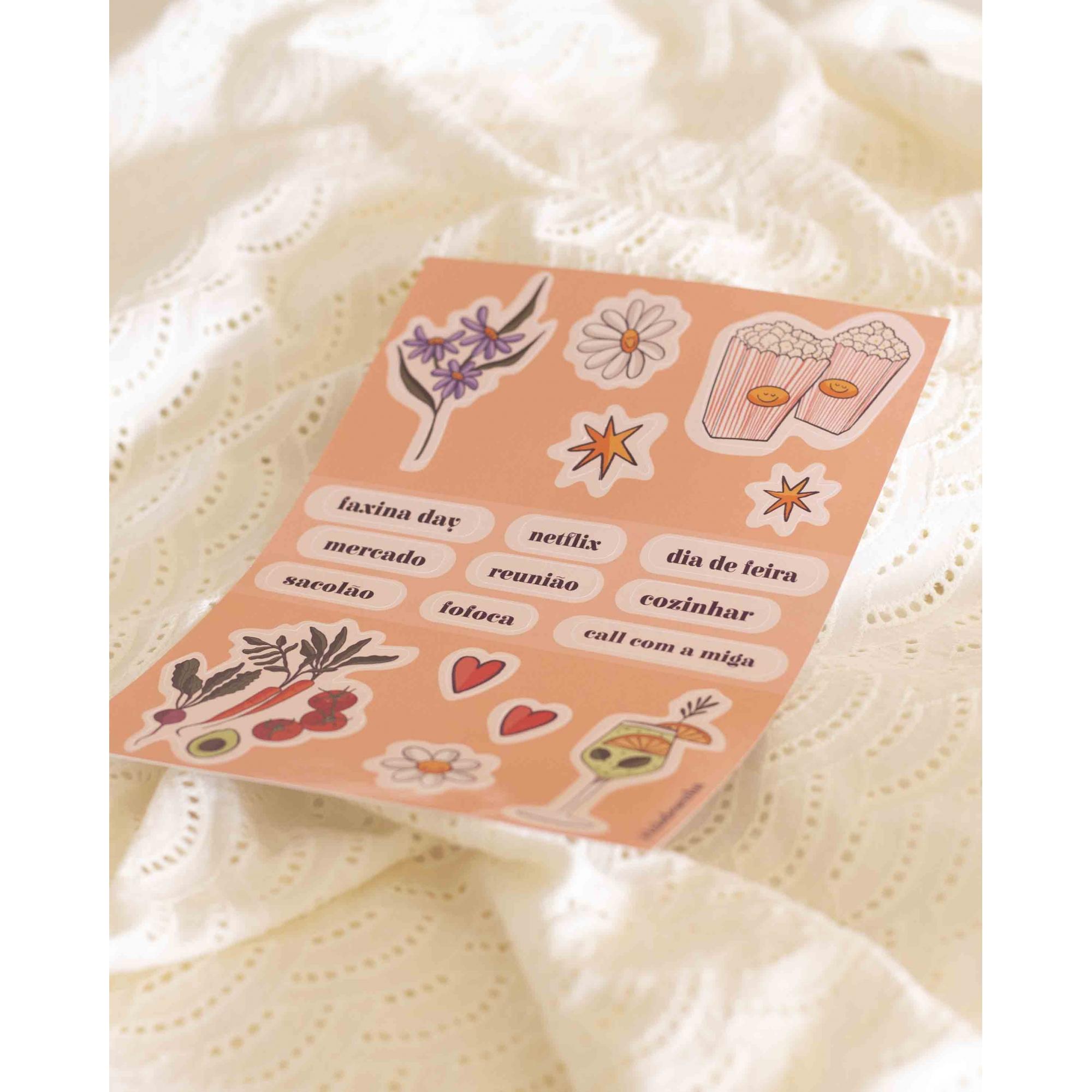 cartela de adesivos para planner