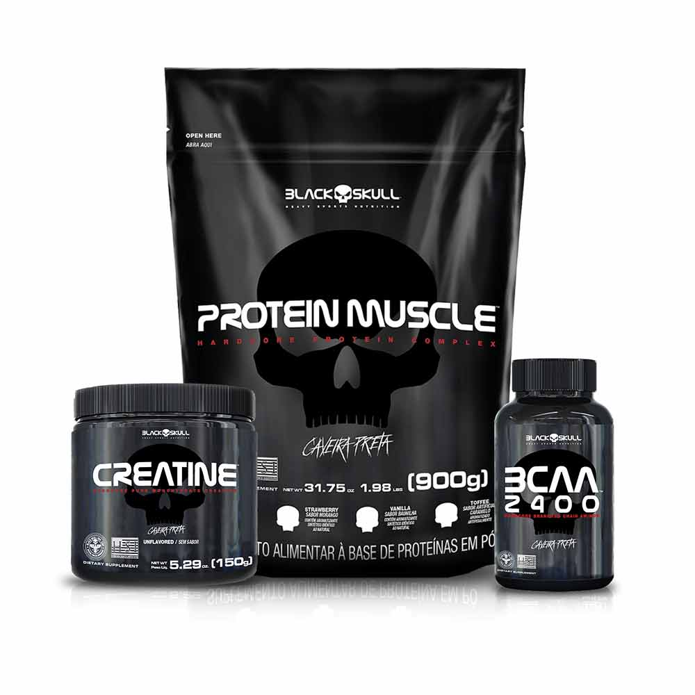 Kit Protein Muscle 900G + BCAA 100Tabs + Creatina 150G