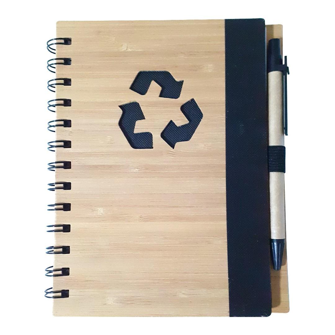 Agenda Ecológica com Caneta Para Transfer Laser - Modelo Recicle - Preta
