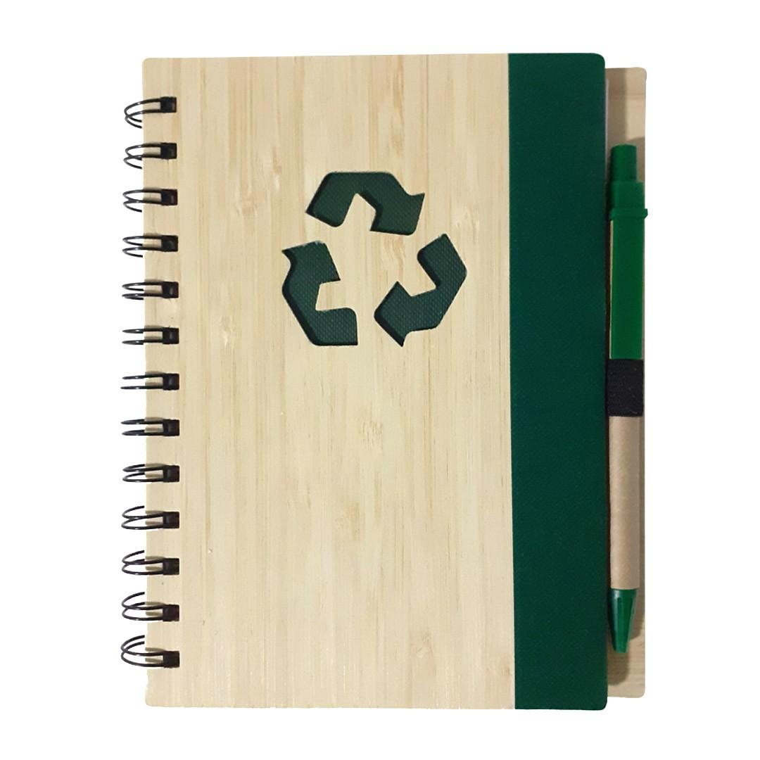Agenda Ecológica com Caneta Para Transfer Laser - Modelo Recicle - Verde