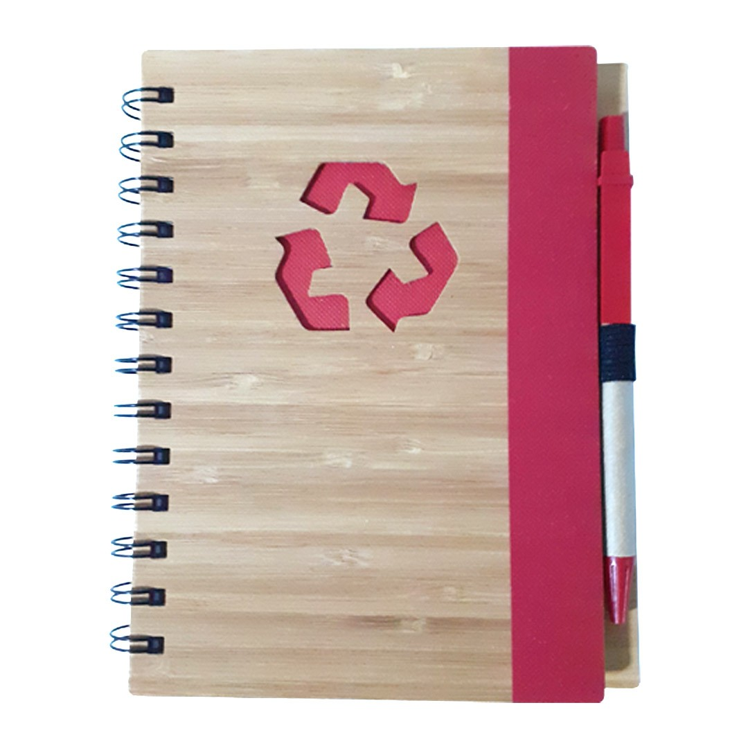 Agenda Ecológica com Caneta Para Transfer Laser - Modelo Recicle - Vermelha