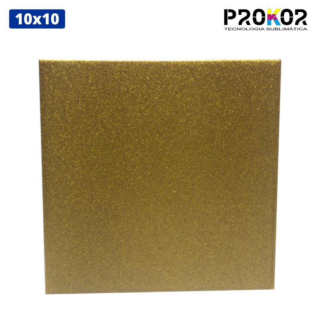 Azulejo Para Sublimação - 10x10 - Glitter Dourado - Prokor