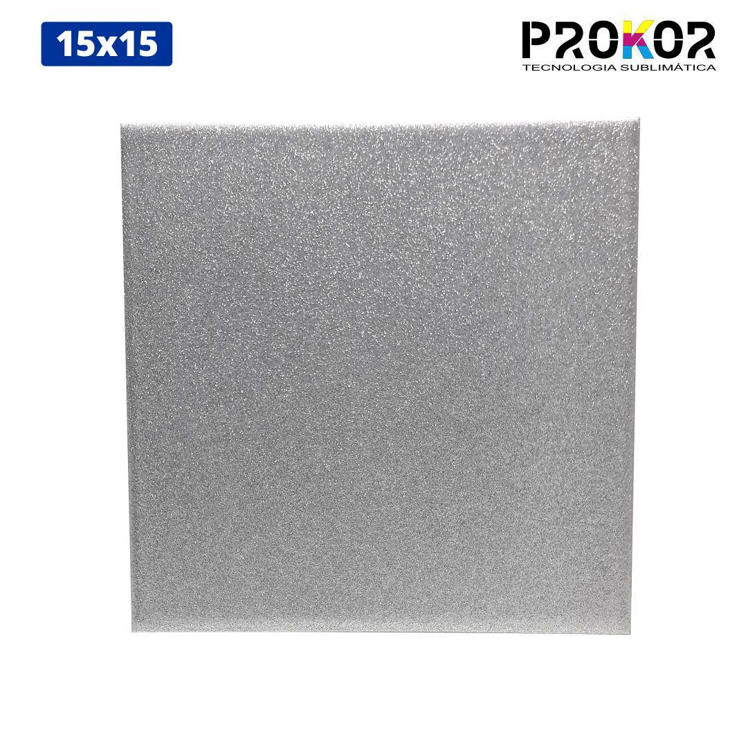 Azulejo Para Sublimação - 15x15 - Glitter Prata - Prokor
