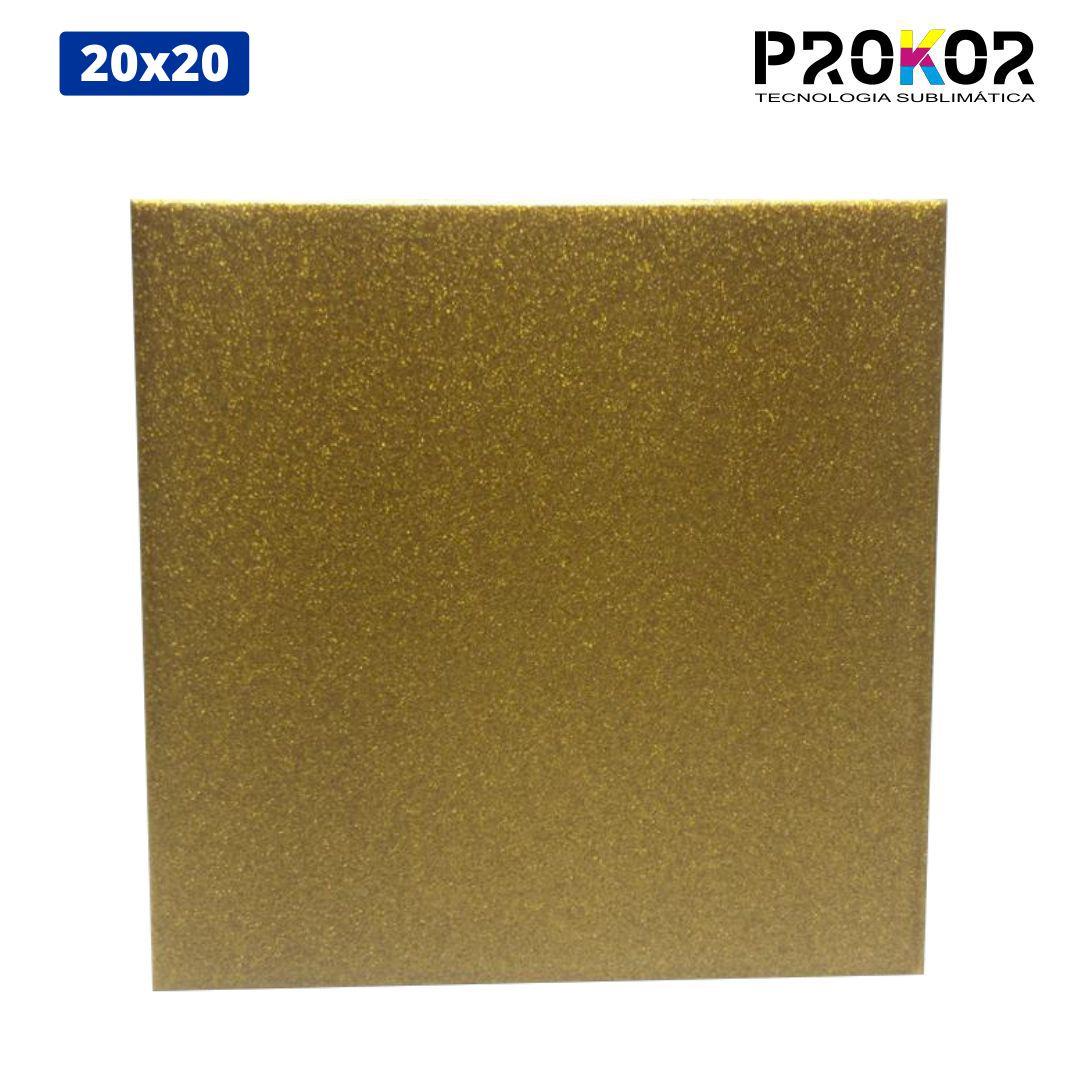 Azulejo Para Sublimação - 20x20 - Glitter Dourado - Prokor