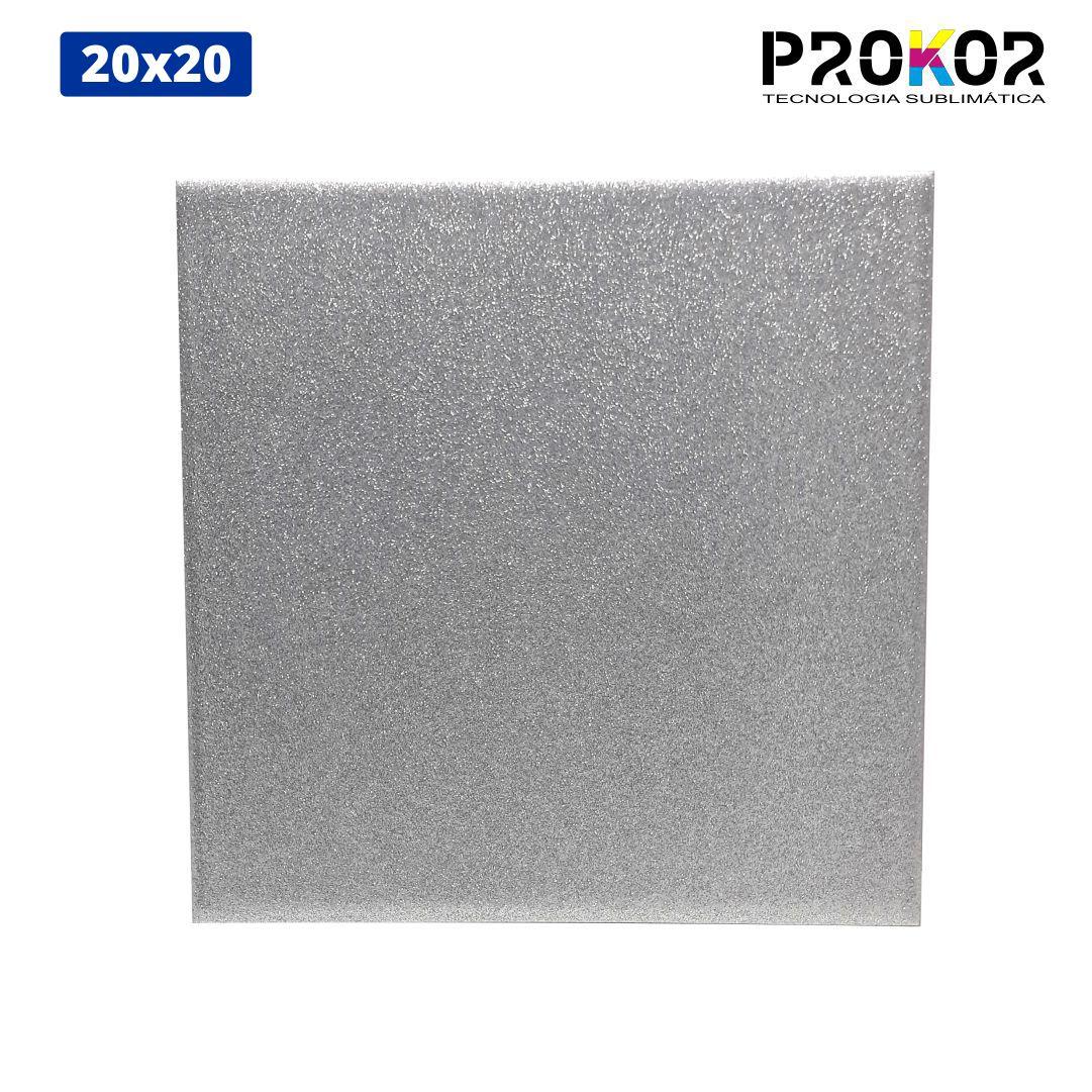Azulejo Para Sublimação - 20x20 - Glitter Prata - Prokor