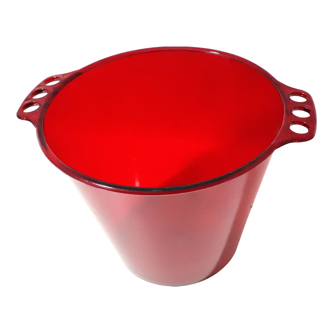 Balde de Gelo de Acrílico - Vermelho Neon Translúcido - 5L