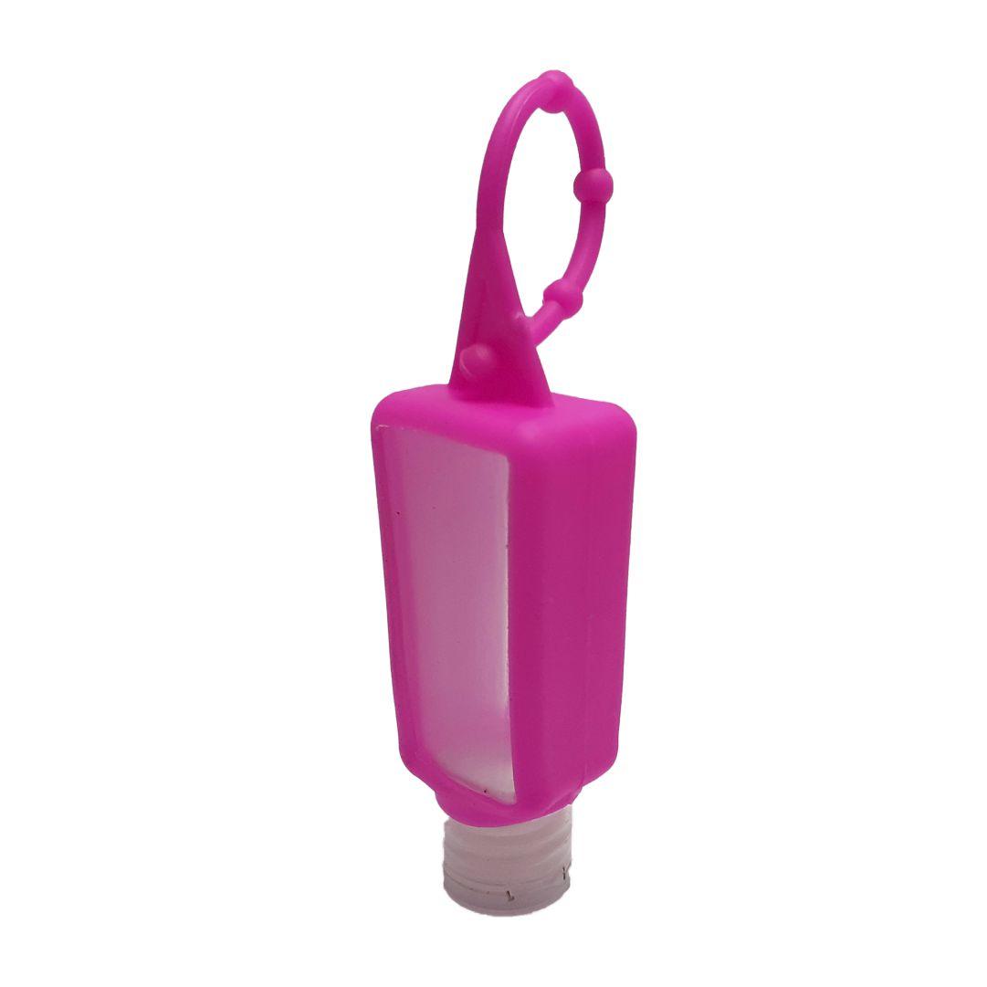 Bisnaga P/ Álcool em Gel com Capinha de Silicone - Rosa - 30ml