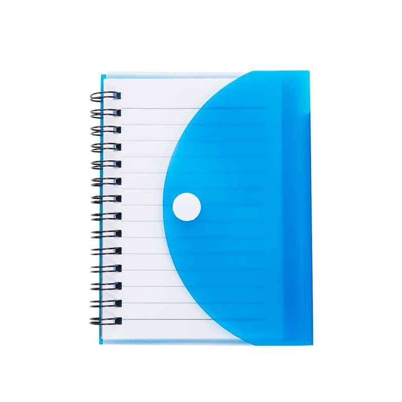 Bloco de Anotações 241 com Capa Plástica Colorida Azul e Caneta Para Transfer Laser