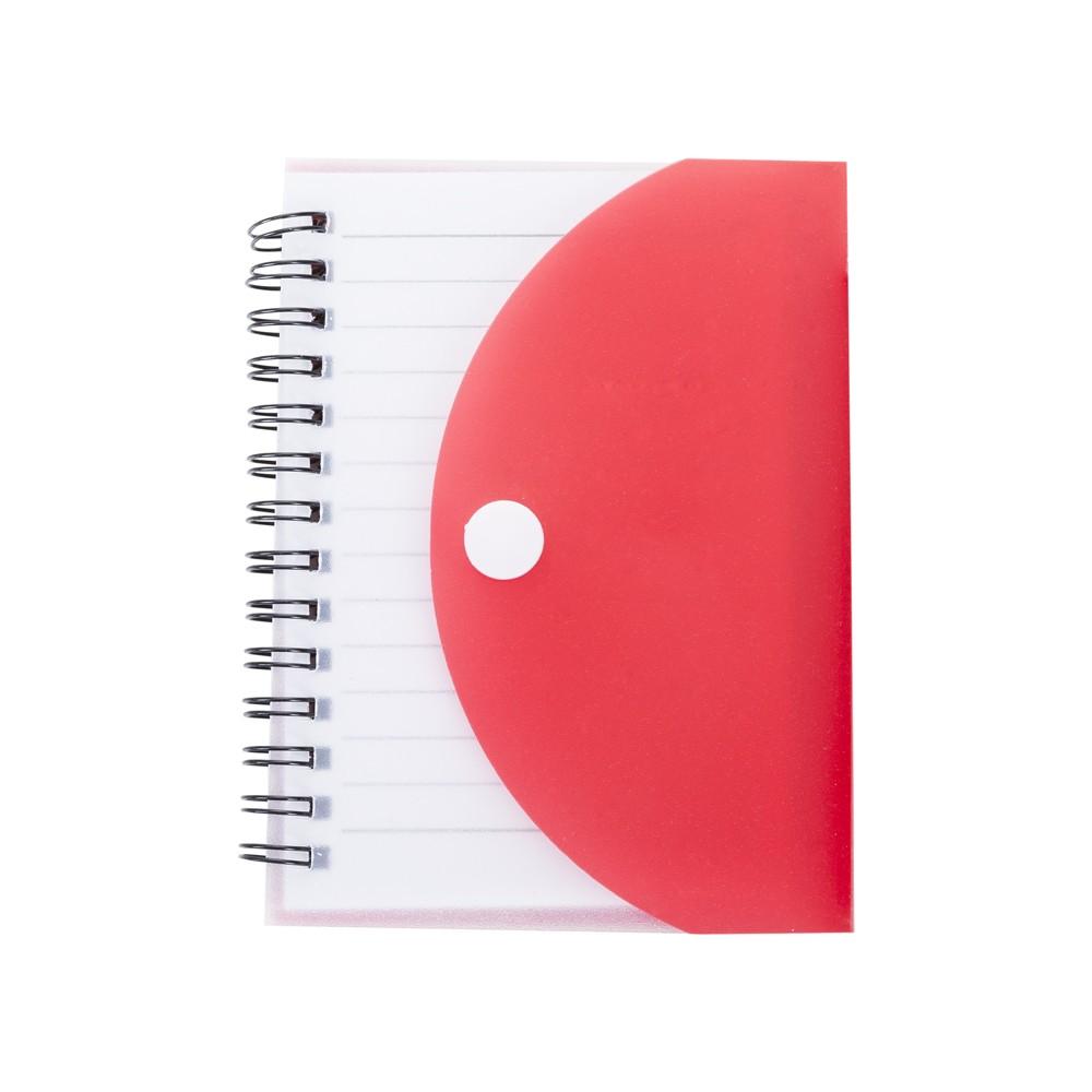 Bloco de Anotações 241 com Capa Plástica Colorida Vermelha e Caneta Para Transfer Laser