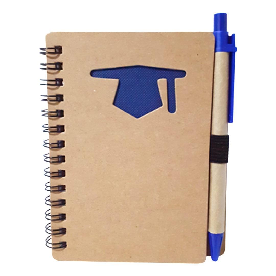 Bloco de anotações Ecológico com Caneta Para Transfer Laser - Modelo Formatura - Azul