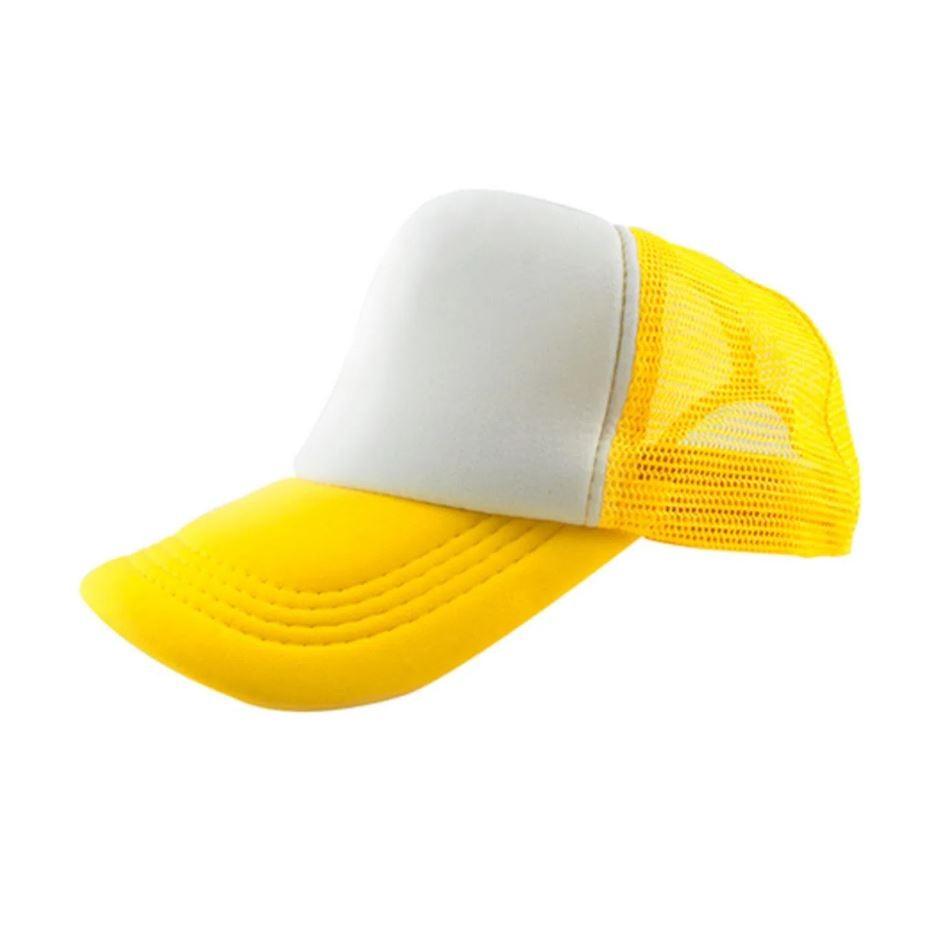 Boné de Tela Amarelo com a Frente Branca Para Sublimação