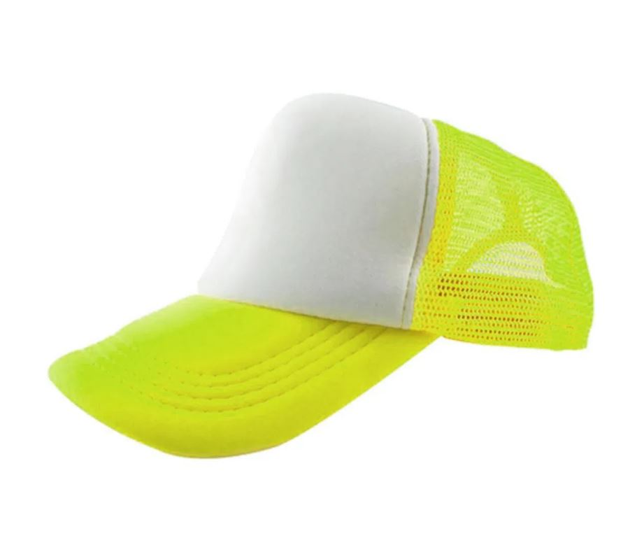 Boné de Tela Amarelo neon com a Frente Branca Para Sublimação