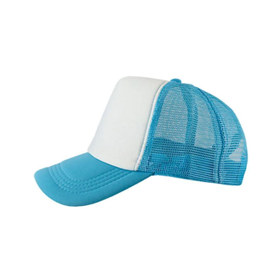 Boné de Tela Azul Claro com a Frente Branca Para Sublimação